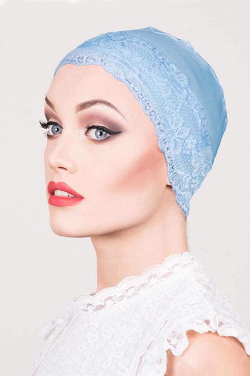 lace sleep cap light blue