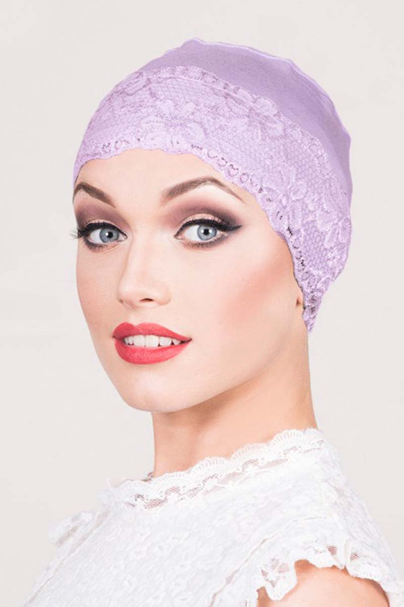 lace sleep cap lilac