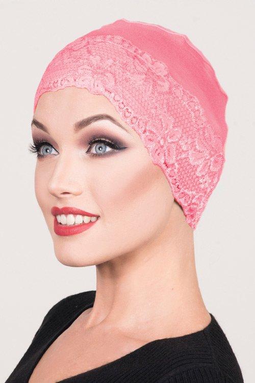 Lace-Sleep-cap-pink